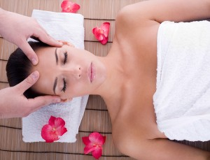 girl getting head massage